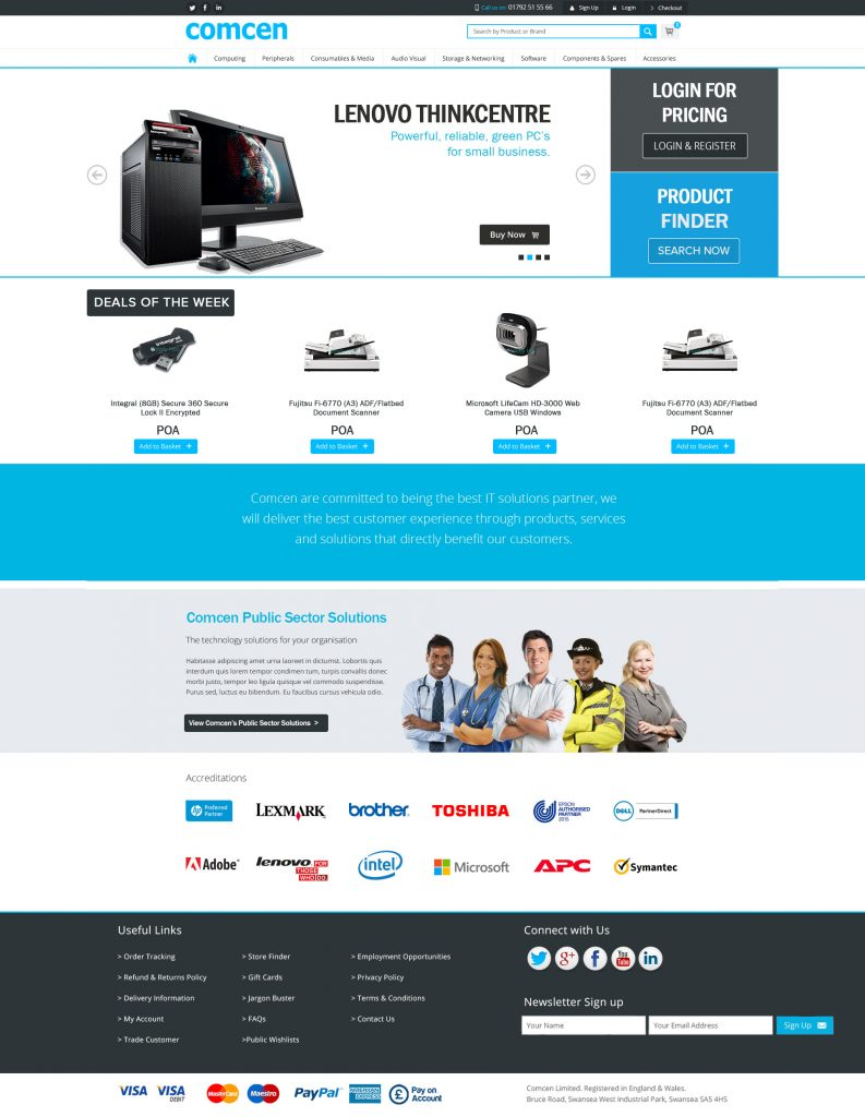 Screenshot of the comcen.co.uk website