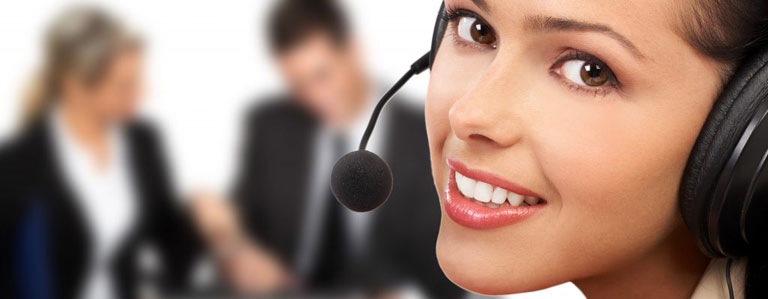 Woman from a customer service team wearing a headset
